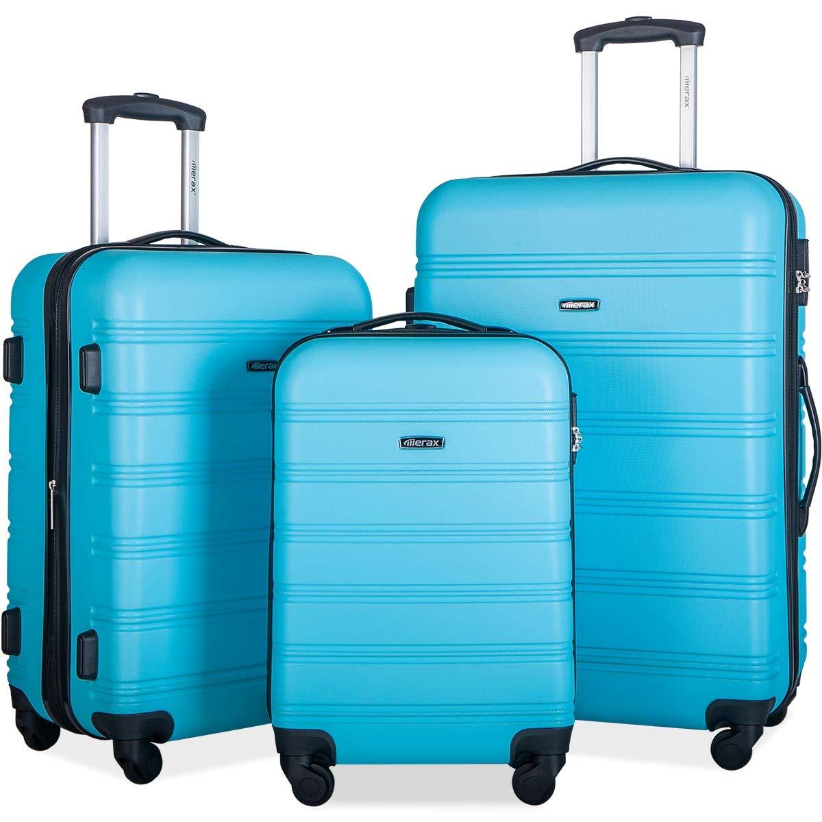 Merax 3 Pcs Luggage Set Expandable Hardside Lightweight Spinner Suitcase (Sky Blue)