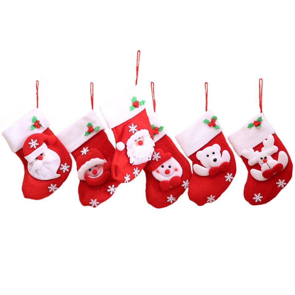 12 Pezzi Rosso Calze Di Natale Borsa Da Tavolo, Decorazioni Natalizie, 3D Babbo Natale/Pupazzo Di Neve/Renna(Consegna Casuale) doublebulls
