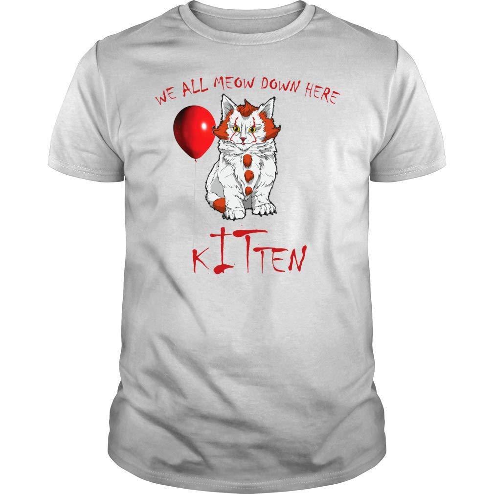 We All Meow Down Here Clown Cat Kitten T Shirt Premium Halloween Shirt Gift For Cat Lovers