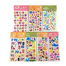 Honbay 7 Sheets Cute Cartoon Animal Marine Organism Fruits Dessert DIY Calendar Diary Book Sticker Scrapbook Planner Decoration