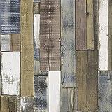 Rasch Authentic Wood Wooden Beam Panels Embossed Textured Wallpaper (Brown Beige Blue 203707)