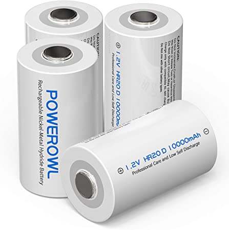 POWEROWL Rechargeable D Batteries 10000mah Low Self Discharge, NiMH, Pre-Charged, 4 Count (Recharge Universal)