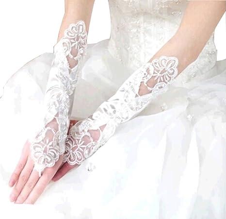d138fd92362c2 Les mariée Mariage Fils Robe en dentelle Gants longs gants de mariage  Mitten Bla