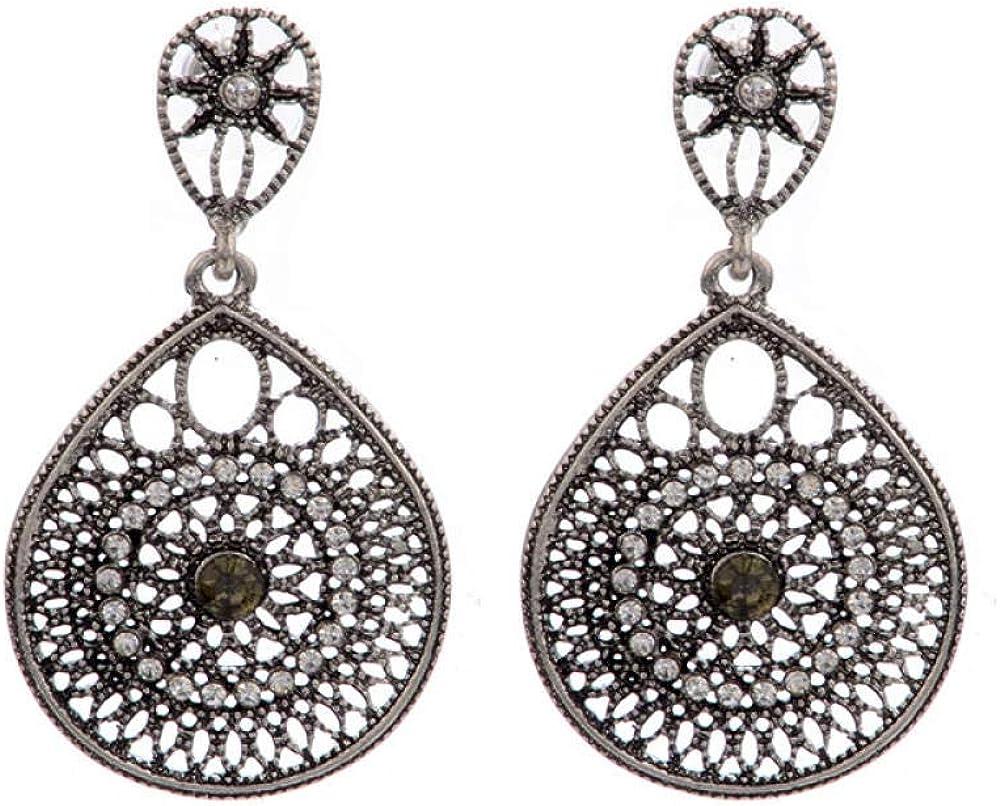 Nnzysl Pendientes Colgantes De Piedras Preciosas De Aleación De Estilo Étnico Vintage De Moda