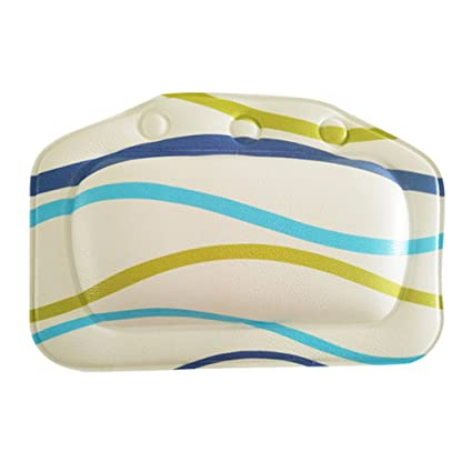 Miss and Mams Home Bathroom Use Neck Spa Support Relax Shower Multicolor Wave Pattern Charms Foam Sponge Soft Bathtub Pillow Bath Headrest