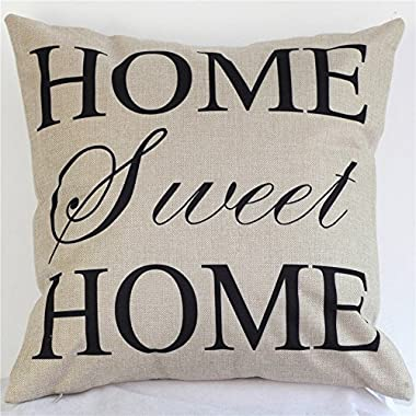 Akery Home Sweet Home Cotton Linen Throw Pillow Cases Decorative Cushion Covers, 18  x 18