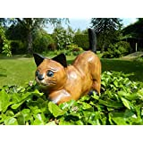 Wooden Cat Carving - Crouching Pouncing Cat by Thai Gifts