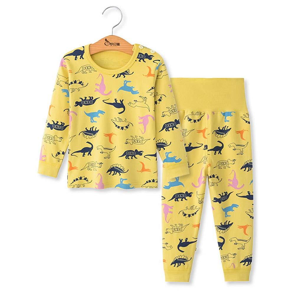 Chickwing Kinder Zweiteiliger Schlafanzug, Mädchen Jungen Unisex Langarm Hohe Taille Pyjama Pjs 100% Baumwolle 6 Monate-5 Jahre Höhe Größe 73 80 90 100 110