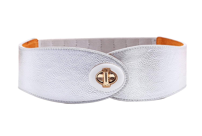 Herebuy - Designer Women Leather Belts Wide Elastic Belt for Dress