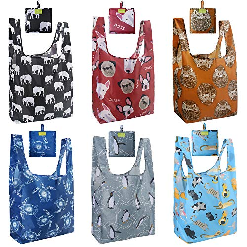 Reusable-Grocery-Shopping-Tote-Bags-Foldable 6 Pack Extra Large 50LBS Machine Washable Ripstop Waterproof Cute Animal Designs Black Elephant Brown Hedgehog Blue Cat Navy Turtle Red Dog Grey Penguin