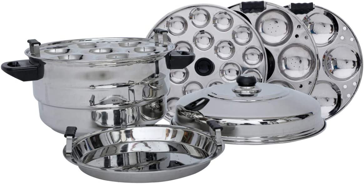 Stainless Steel Steamers and Idli Maker (Silver) with 5 Plates 21 Idly