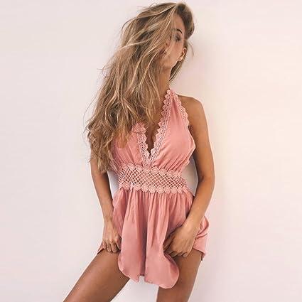 a2968ccd8b YUAFOAE Femme Sexy sans Manches Cou Suspendu Dos Nu Combinaison Pantalon  Romper Chic pour SoiréE De Plage Casual Short: Amazon.fr: Vêtements et  accessoires