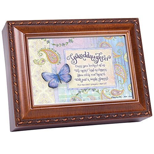 (Cottage Garden Granddaughter Stole Our Hearts Woodgrain Rope Trim Jewelry Music Box Plays Friend in Jesus)