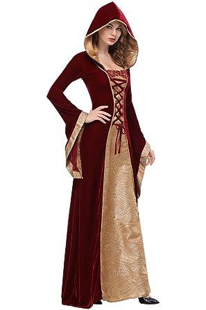 Amazon.com: Dark Paradise Victorian Gothic Hooded Velvet Dress Long ...
