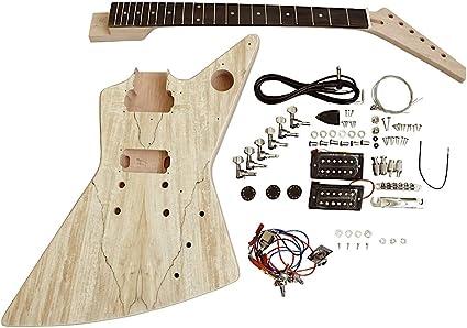 Coban Guitars Build Your Own Electric Diy Guitar Kit Uk Exp1sb Spalted Maple Veneer Black Fitting Chrome Hardware Amazon Co Uk Musical Instruments