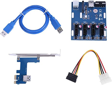 PCI-E Express to 4 PCI-E 1x Slot  Riser External Card Converter Adapter 1000Mbps