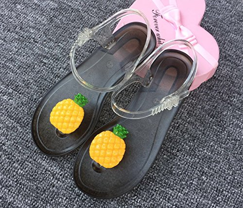 Xing Lin Ladies Sandals Summer Sandals Female Personality Lovely Lemon Fruit Harajuku Wind Clip Toe Beach Student Flat Jelly Shoes Black soles k2JKB4z