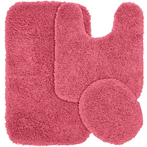 Garland Rug 3-Piece Jazz Shaggy Washable Nylon Bathroom Rug Set, Pink (Pink Bathroom Rug Sets)