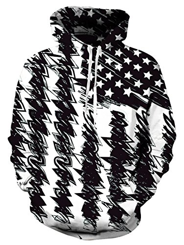 Mens Sweatshirts and Hoodies Realistic 3D Printed Patriotic Novelty Pullover with Pockets Crew Neck Casual Stars Flag Sweater Black Lower Hem for Teens Boys