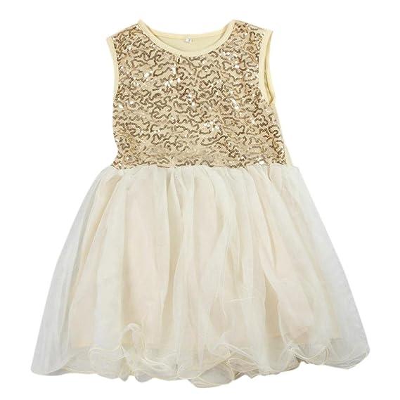 Niña princesa vestido,Sonnena lentejuelas vestido de niñas de la manera sin manga linda tutú