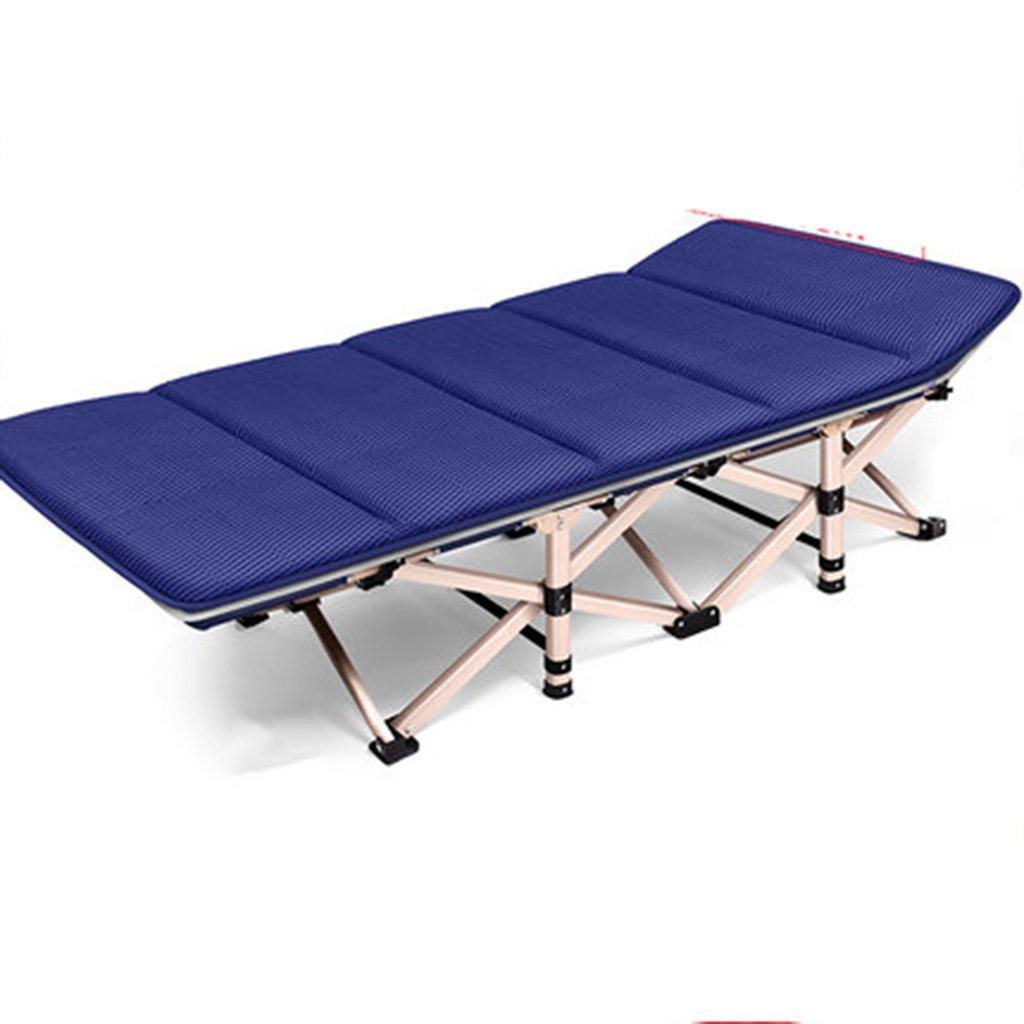 Stühle Klappbett Einzelbett Bett für Erwachsene Bett Siesta Lounge Büro Camping Bett begleitendes Bett (Farbe : Blau, Größe : 190  75  36 cm)