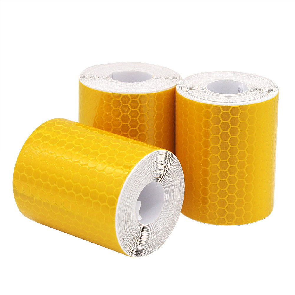 Dehao Reflector Tape 3 Rolls 5 cm x 300 cm for High-Visibility Tape Safety Lane Marking Tape (Gold)
