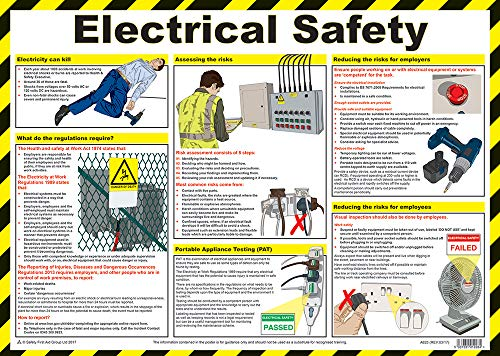 Safety First Aid Electric Shock Poster Laminated 59x42cm
