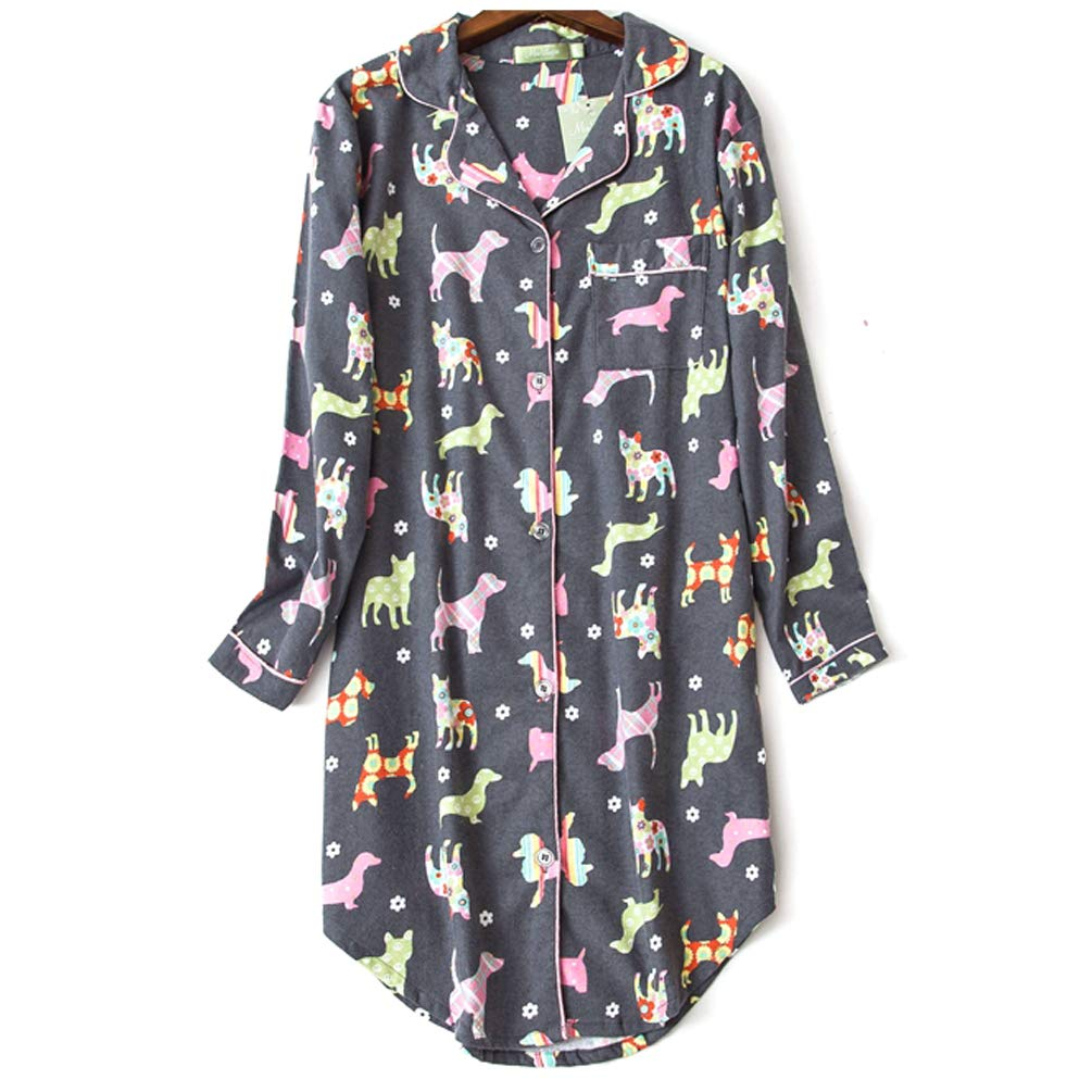 ENJOYNIGHT Women\'s Sleep Shirt Flannel Print Pajama Top Button-Front Nightshirt Sleepwear (X-Large, Grey Dog)