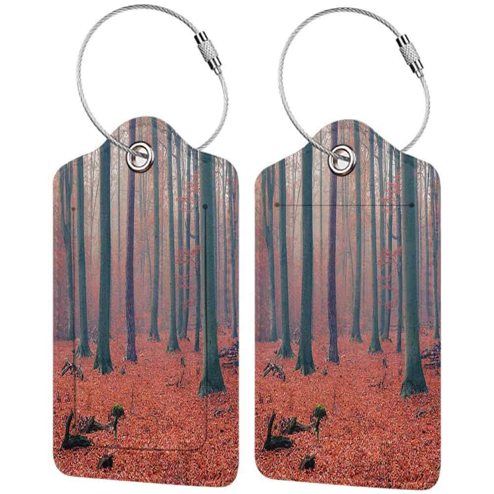 Printed luggage tag Farm House Decor Collection Foggy Forest Tree Trunks Leaves in Rich Autumn Color Picture Print Protect personal privacy Salmon Tan W2.7 x L4.6