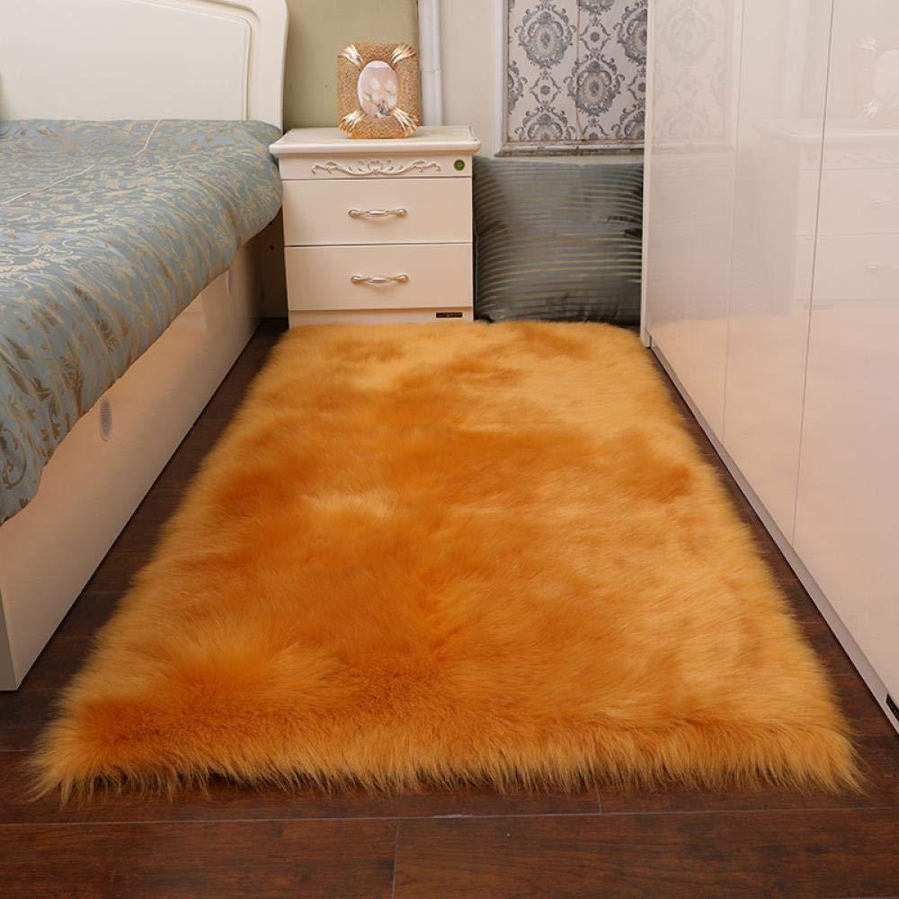 Long Plush Living Room Carpet Mattress Wool Household Carpet Mattress Bedside Carpet Floating Window Mattress, Camel, 5080cm