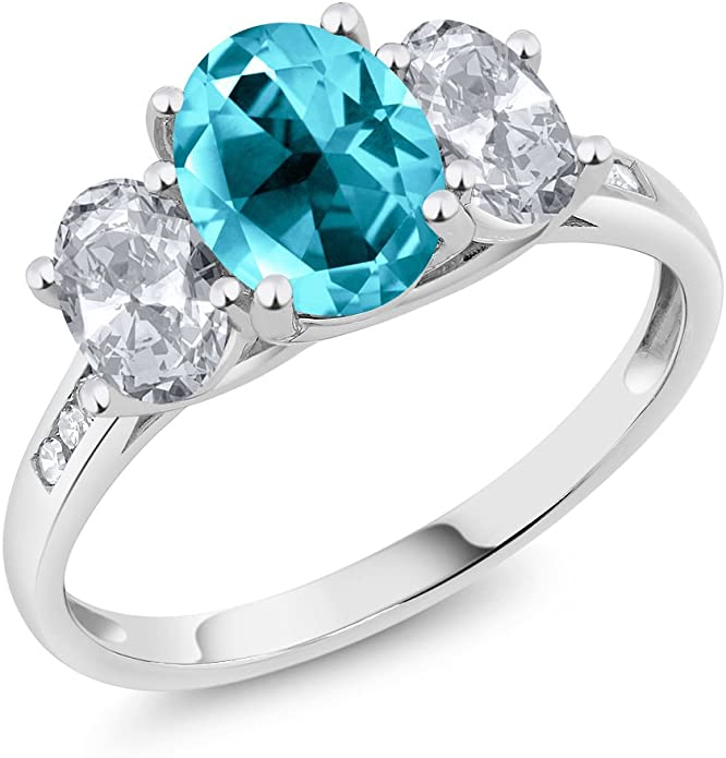 Bridal Ring Set 10k White Gold Over 1.05 TCW Sapphire and Diamond Accent 3-Pc