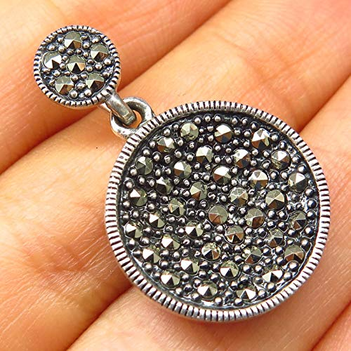 (925 Sterling Silver Real Marcasite Gemstone Concave Disc Design Pendant Jewelry Making Supply by Wholesale Charms)