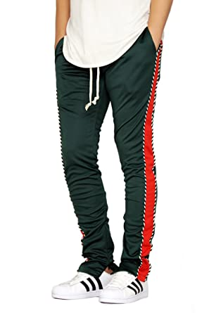 3100d13d EPTM MEN'S GREEN/RED PIPING TECHNO TRACK PANTS at Amazon Men's ...