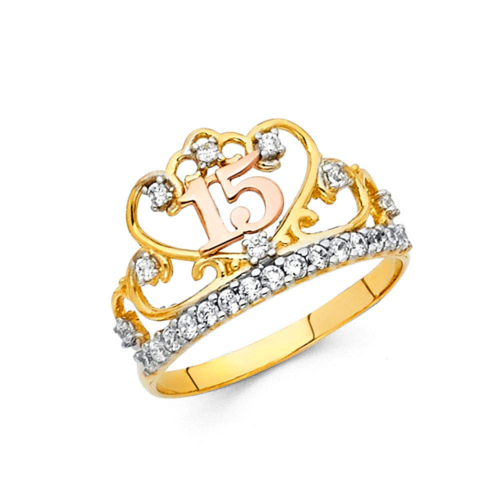 FB Jewels 14K White and Yellow Gold Two Tone Cubic Zirconia CZ Fifteen 15 Year Birthday Quincea/ñera Fashion Anniversary Ring