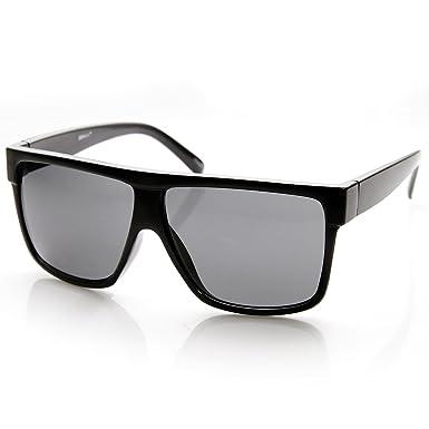 2027edccce637 zeroUV - Designer Inspired Large Flat Top Square Plastic Aviator Sunglasses  (Shiny Black)  Amazon.co.uk  Clothing