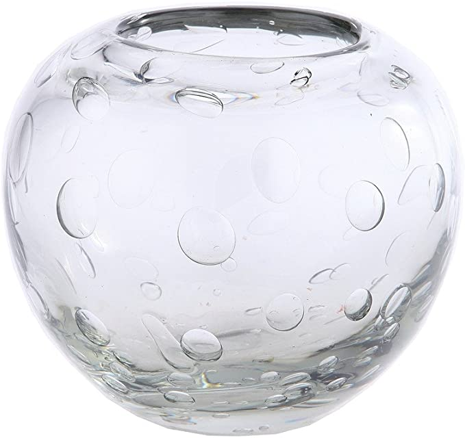 Hand Blown Clear Cylindrical Shape Vase With A Flared Lip And Bubbles