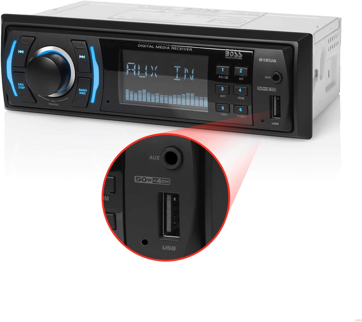 BOSS Audio Systems 612UA Multimedia Car Stereo - Single Din, No CD DVD Player, MP3, USB Port, AUX Input, AM/FM Radio Receiver Without 6 x 9 Inch Car Speaker