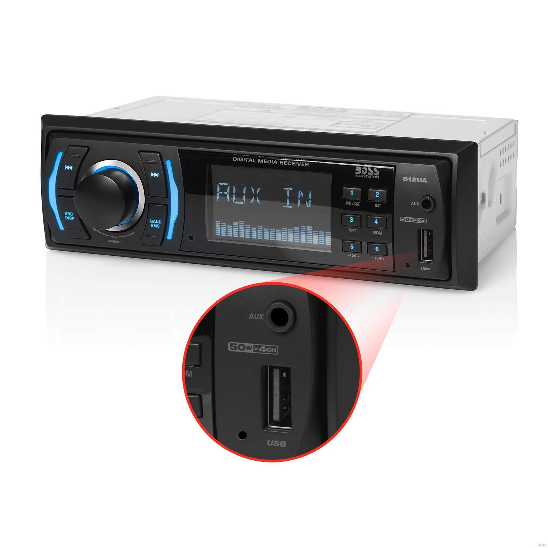 BOSS Audio Systems 612UA Multimedia Car Stereo - Single Din, No CD DVD Player, MP3, USB Port, AUX Input, AM/FM Radio Receiver