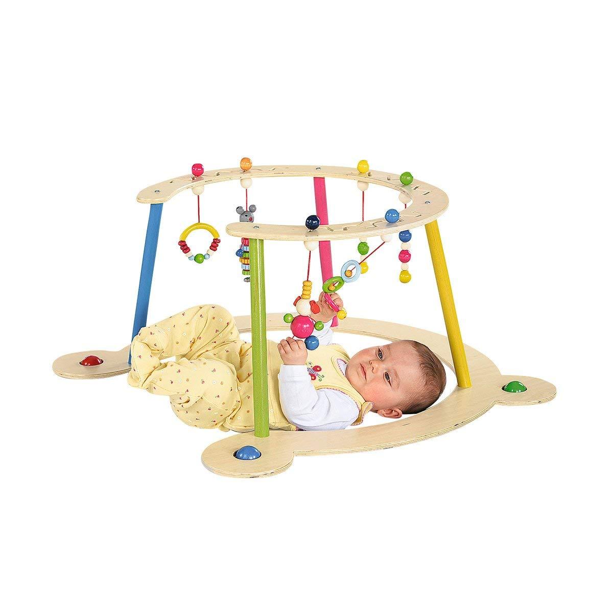 32 cm H/öhe Lauflernwagen ab 6 Monate Spielbogen aus Holz und Lauflernger/ät Hess Baby Spiel
