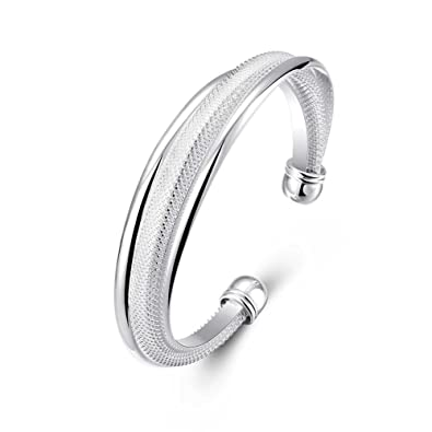 2655e0608 Amazon.com: Joshua Home Jewelry Bangle Bracelets for Girls Cuff Bangle  Bracelets for Men Women Silver Cuff Bracelets for Women Engraved: Jewelry