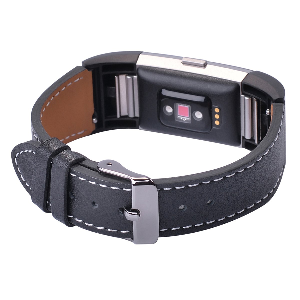 for Fitbit Charge 2 Black Smartwatch Strap Adapter Classic Genuine Leather Watch Band Wristband Large
