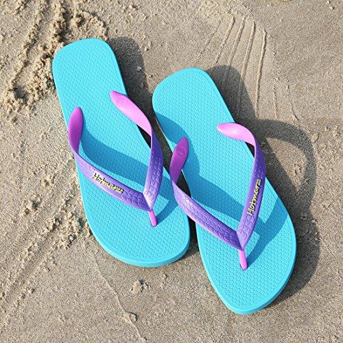 Purple Strap Beach Women's Blue Slim Flops Flip Slippers Sandals Fashion Hotmarzz Flat Sole XPa7wq6w