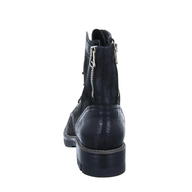 ROT BOXX Stiefelette Damen Schnürstiefel Reißverschluss Leder Lack - Schwarz - Lack 3662f0