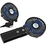 HandFan Portable Handheld Fan, Mini Hand Fan/Small Desk Fan Folding Change 5-18 Hours Working Time Personal Fan Rechargeable Battery/USB Operated Electric Fan Handle is 5200mA Power Bank(Power black)