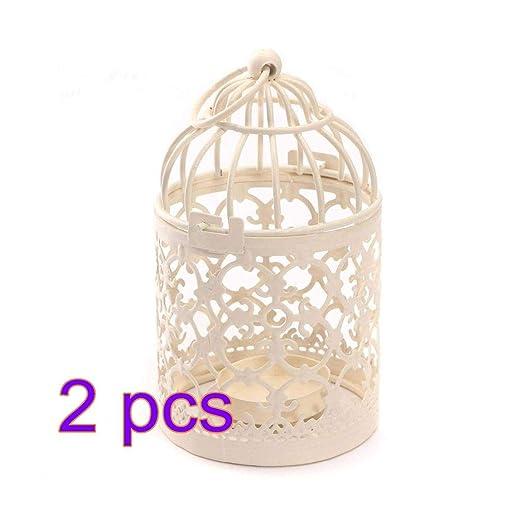Bledyi 2 Piezas portavelas Jaula de pájaros Metal Velas de té ...