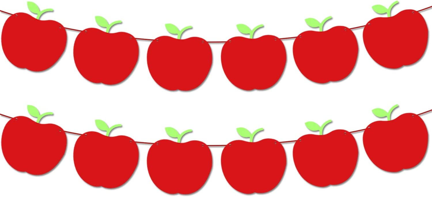 Back to School Decorations Apple Banner - Large, 9 Feet Felt Apple Banner Decorations | Apple Classroom Decorations for Pre School | First Day of School Decorations | Apple Decorations for Classroom