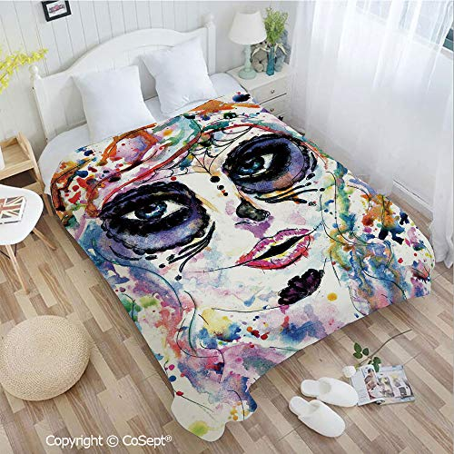 PUTIEN Soft Flannel Blanket,Halloween Girl with Sugar Skull Makeup Watercolor Painting Style Creepy Decorative,Perfect for Camping,Picnic & The Beach with a Waterproof(55.11