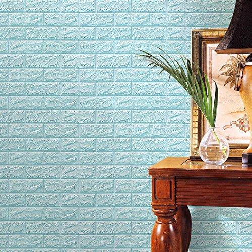 HongXander Wallpaper DIY PE Foam Wall Decor Adhesive 3D Brick Stone Shape Wall Stickers (Light Blue)