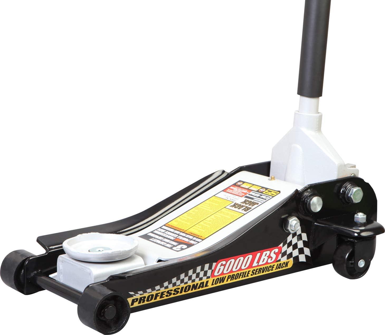 Torin T83505W Blackjack Hydraulic Low Profile Steel Racing Floor Jack with Single Piston Quick Lift Pump, 3 Ton (6,000 lb) Capacity, Black