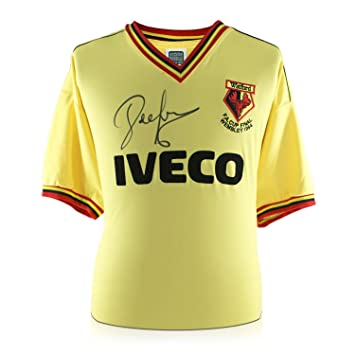 99b18b27bc7 Exclusive Memorabilia John Barnes Signed Watford 1984 FA Cup Shirt   Amazon.co.uk  Sports   Outdoors